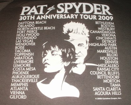 Pat Benatar & Neil Giraldo 30th anniversary tour tee 2009 back