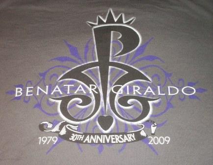 Pat Benatar & Neil Giraldo 30th anniversary tour tee 2009 Front