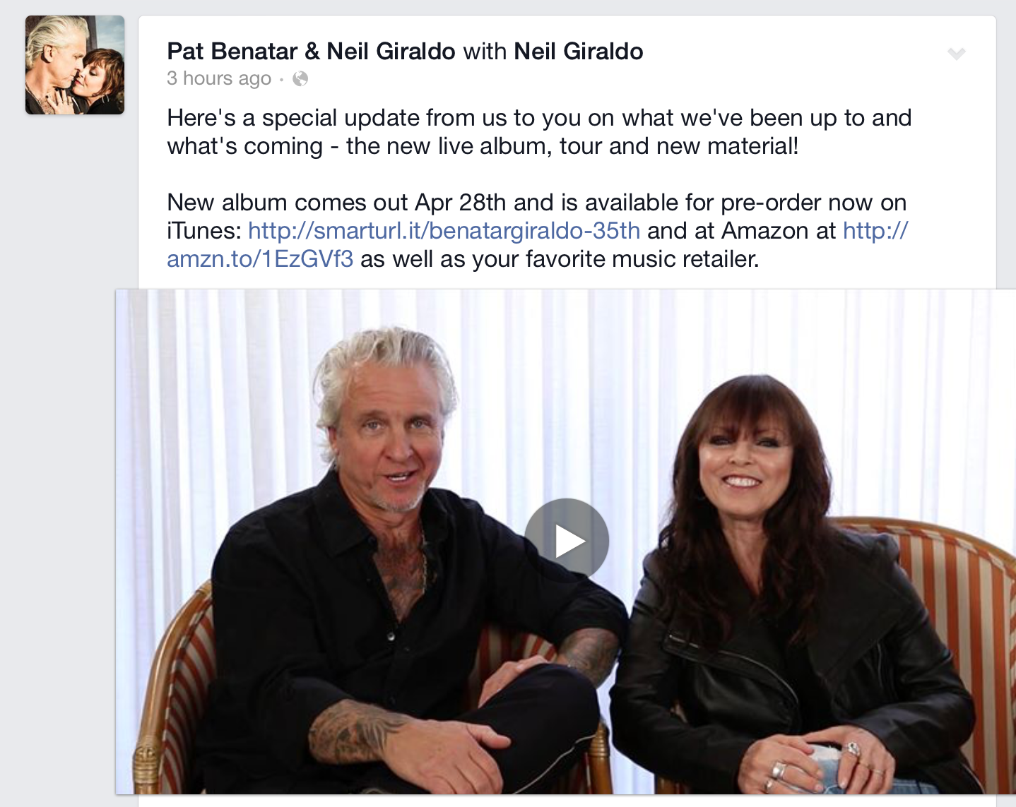 Pat Benatar / Neil Giraldo Fan Message / Update on New Live Album, Tour, and New Material!
